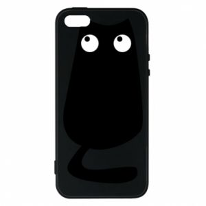 Etui na iPhone 5/5S/SE Black cat with big eyes is sitting