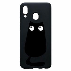 Etui na Samsung A20 Black cat with big eyes is sitting