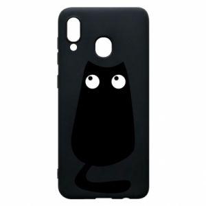 Etui na Samsung A30 Black cat with big eyes is sitting