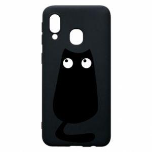 Etui na Samsung A40 Black cat with big eyes is sitting