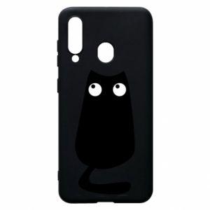 Etui na Samsung A60 Black cat with big eyes is sitting