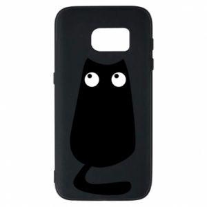 Etui na Samsung S7 Black cat with big eyes is sitting