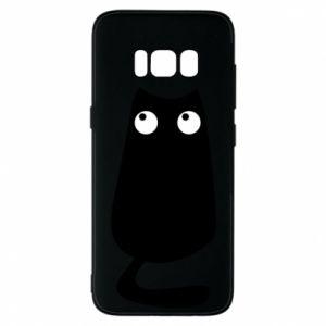 Etui na Samsung S8 Black cat with big eyes is sitting