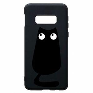 Etui na Samsung S10e Black cat with big eyes is sitting