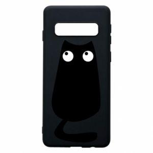 Etui na Samsung S10 Black cat with big eyes is sitting