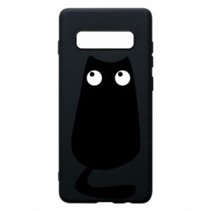 Etui na Samsung S10+ Black cat with big eyes is sitting