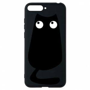 Etui na Huawei Y6 2018 Black cat with big eyes is sitting
