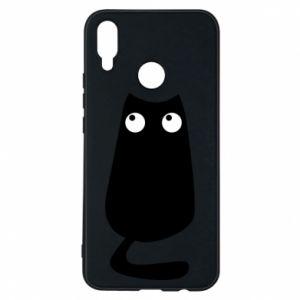 Etui na Huawei P Smart Plus Black cat with big eyes is sitting
