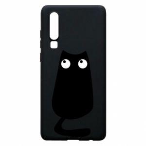 Etui na Huawei P30 Black cat with big eyes is sitting