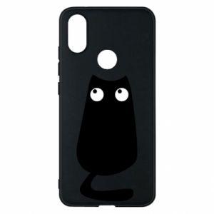 Etui na Xiaomi Mi A2 Black cat with big eyes is sitting