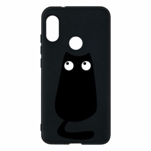 Etui na Mi A2 Lite Black cat with big eyes is sitting