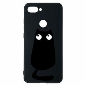 Etui na Xiaomi Mi8 Lite Black cat with big eyes is sitting