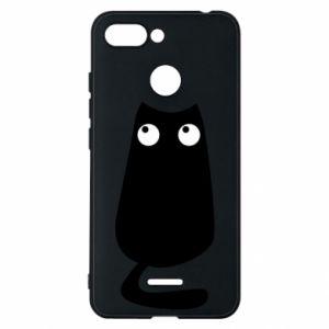 Etui na Xiaomi Redmi 6 Black cat with big eyes is sitting