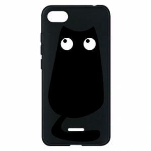 Etui na Xiaomi Redmi 6A Black cat with big eyes is sitting