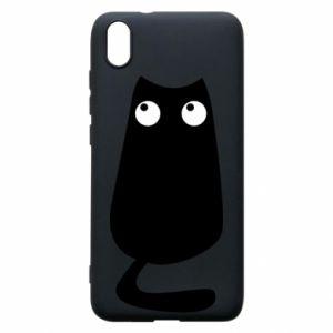 Etui na Xiaomi Redmi 7A Black cat with big eyes is sitting