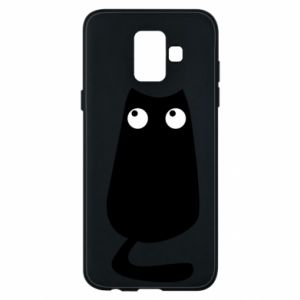 Etui na Samsung A6 2018 Black cat with big eyes is sitting