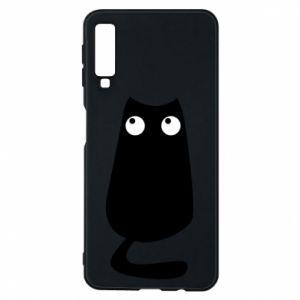Etui na Samsung A7 2018 Black cat with big eyes is sitting