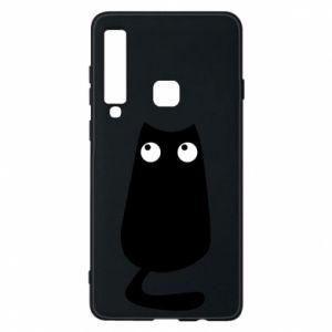 Etui na Samsung A9 2018 Black cat with big eyes is sitting