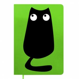 Notepad Black cat with big eyes is sitting