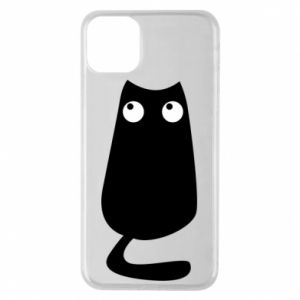 Etui na iPhone 11 Pro Max Black cat with big eyes is sitting