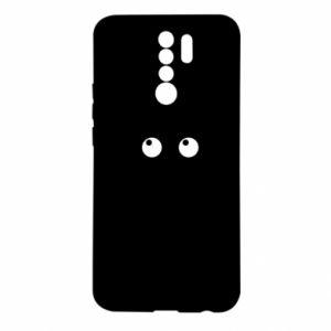 Etui na Xiaomi Redmi 9 Black cat with big eyes is sitting