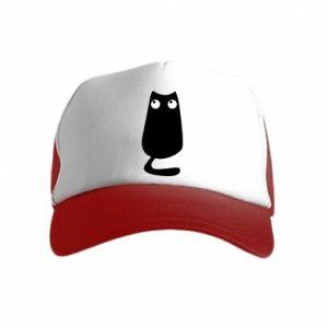 Czapka trucker dziecięca Black cat with big eyes is sitting