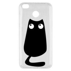 Etui na Xiaomi Redmi 4X Black cat with big eyes is sitting