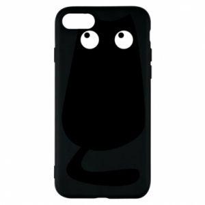 Etui na iPhone 8 Black cat with big eyes is sitting