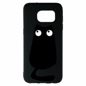 Etui na Samsung S7 EDGE Black cat with big eyes is sitting