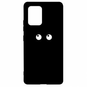 Etui na Samsung S10 Lite Black cat with big eyes is sitting