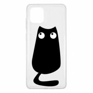 Etui na Samsung Note 10 Lite Black cat with big eyes is sitting