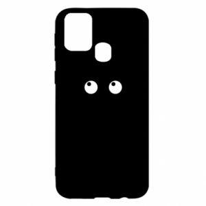 Etui na Samsung M31 Black cat with big eyes is sitting