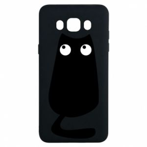 Etui na Samsung J7 2016 Black cat with big eyes is sitting