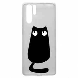 Etui na Huawei P30 Pro Black cat with big eyes is sitting