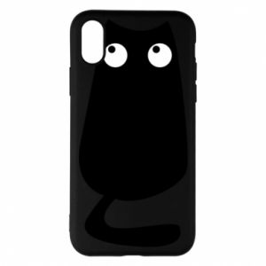 Etui na iPhone X/Xs Black cat with big eyes is sitting