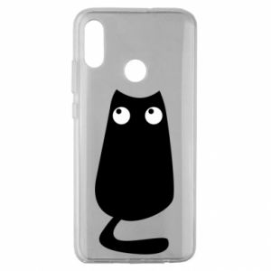 Etui na Huawei Honor 10 Lite Black cat with big eyes is sitting