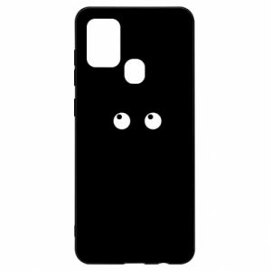 Etui na Samsung A21s Black cat with big eyes is sitting