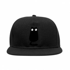 Snapback Black cat with big eyes is sitting