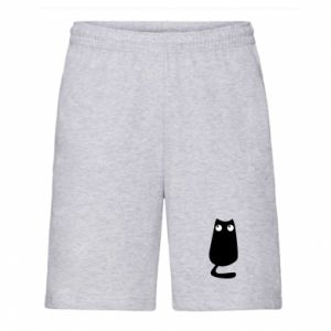 Men's shorts Black cat with big eyes is sitting