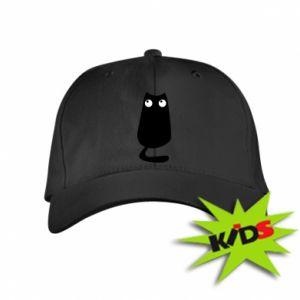 Kids' cap Black cat with big eyes is sitting