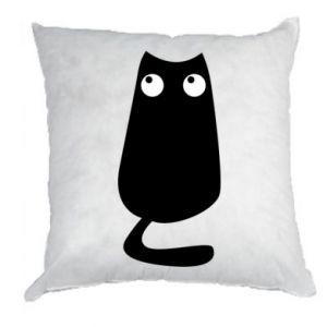 Poduszka Black cat with big eyes is sitting