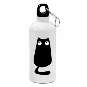 Flask Black cat with big eyes is sitting