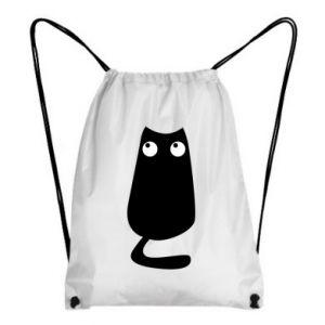 Backpack-bag Black cat with big eyes is sitting