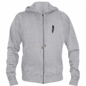 Men's zip up hoodie Black feather - PrintSalon
