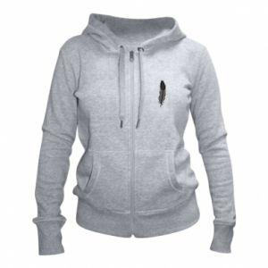 Women's zip up hoodies Black feather - PrintSalon