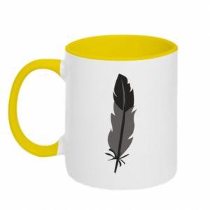 Two-toned mug Black feather - PrintSalon