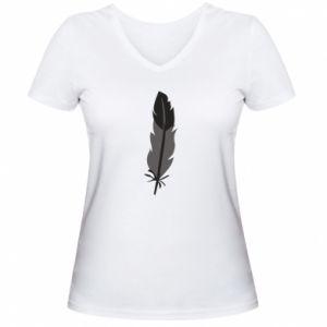 Women's V-neck t-shirt Black feather - PrintSalon