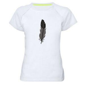 Women's sports t-shirt Black feather - PrintSalon