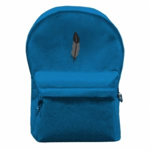 Backpack with front pocket Black feather - PrintSalon