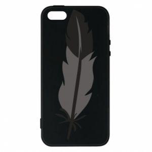 Phone case for iPhone 5/5S/SE Black feather - PrintSalon